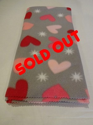 Bunny Blanket - Valentines, gray with hearts (LIMITED SUPPLY!!)